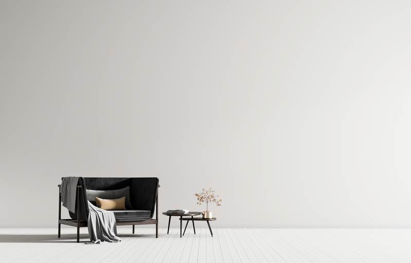 Minimalist interior with armchair. Scandinavian style hipster in