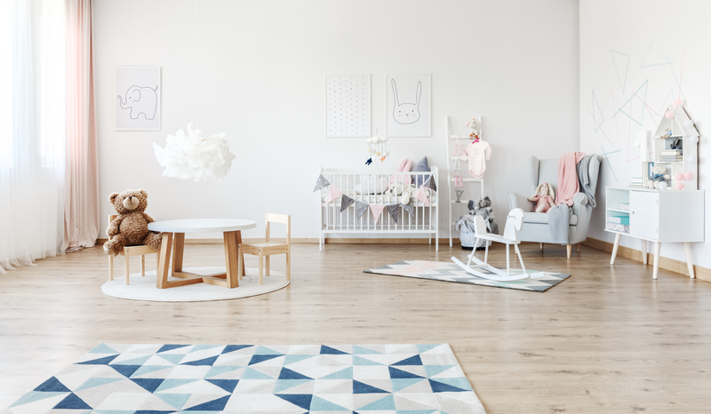 Baby's room with rocking horse